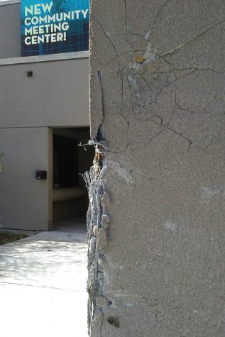 Car crash damages Knox Center bathroom