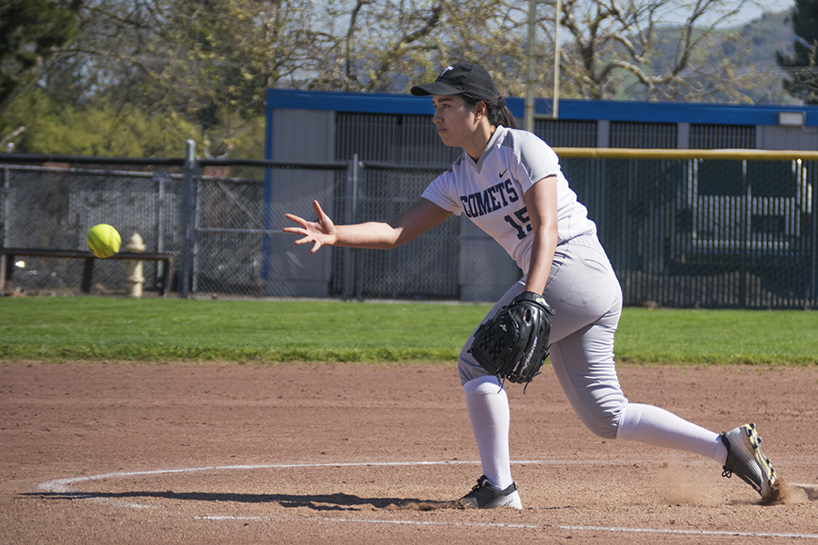 Comet pitcher Hulita Latu pitches during the Comets' 16-2 loss against the Los Medanos College Mustangs at the Softball Field in the first game of a doubleheader on March 14.