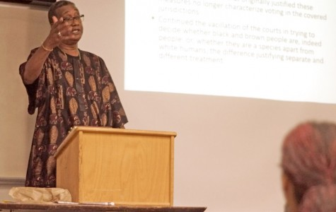 Ethnic Studies professor Fritz Pointer speaks to students during the W.E.B DuBois Lecture Series in HS-101 on Sept. 17.