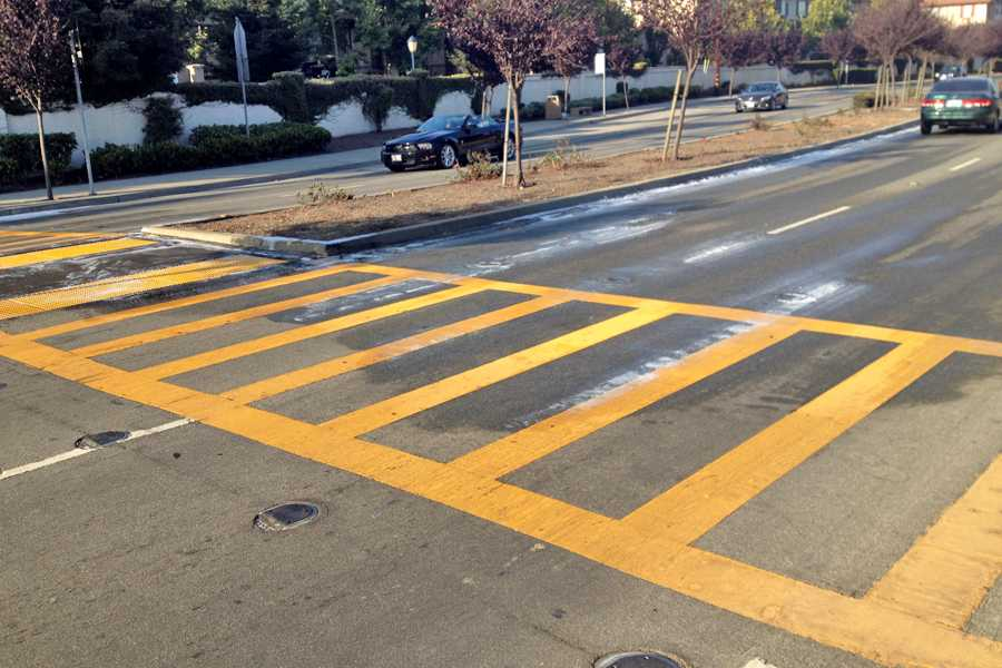 The crosswalk on El Portal Drive leading up to Contra Costa College was the site of a possible suicide at 5:30 a.m. Wednesday.