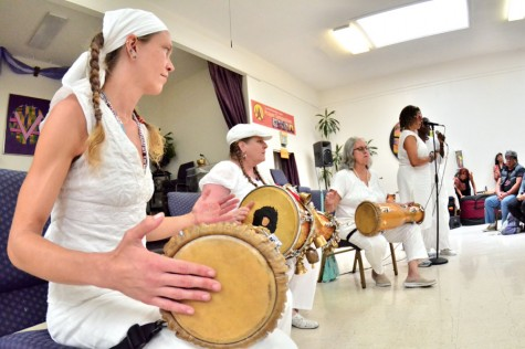 ABOVE:  San Francisco resident Jules Hilson (left) and her group perform Afro-Cuban Bata drumming during the 3rd Annual Oakland World Percussion Festival at the East Bay Church in Oakland on Saturday.