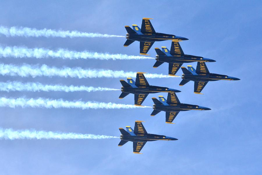 The Blue Angels display a flying formation  over the bay during the 2014 Fleet Week in San Francisco on Saturday.