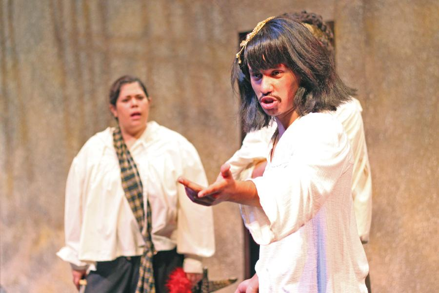 "Oz Herrera-Sobal (right) speaks to the audience as Cleopatra while Stephanie Rivas (left) looks on during a dress rehearsal of ""The Com-plete Works of William Shakespeare, Abridged"" at the Knox Center on Oct. 20."