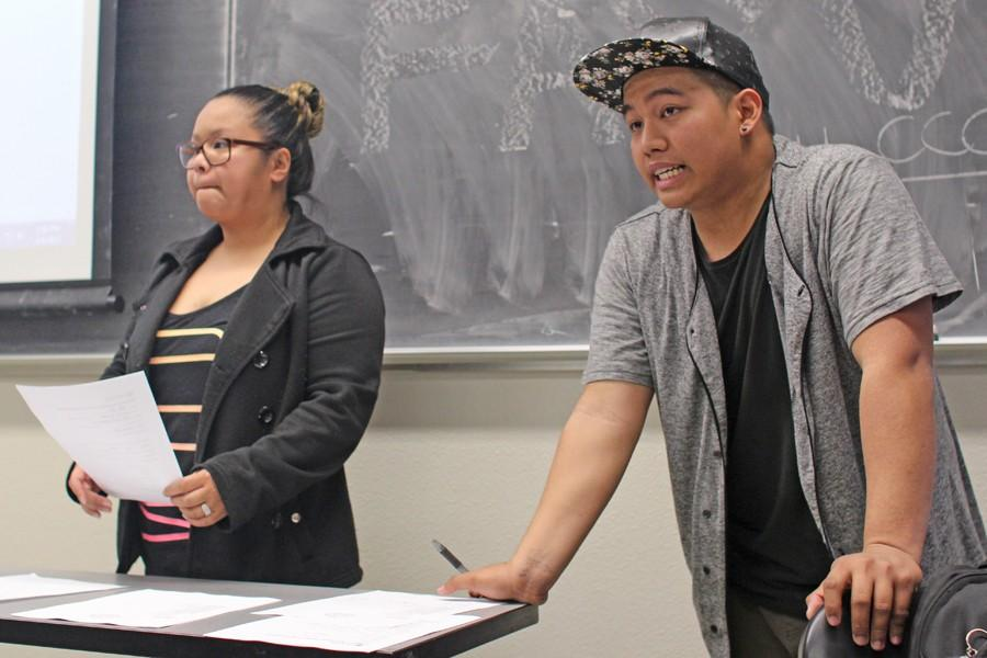 Filipino Associated Student Union members Gerald Macadangdang  (right) and Janelle Knudson (left) speak to students during the first FASU meeting in LA-104 on Feb. 4.