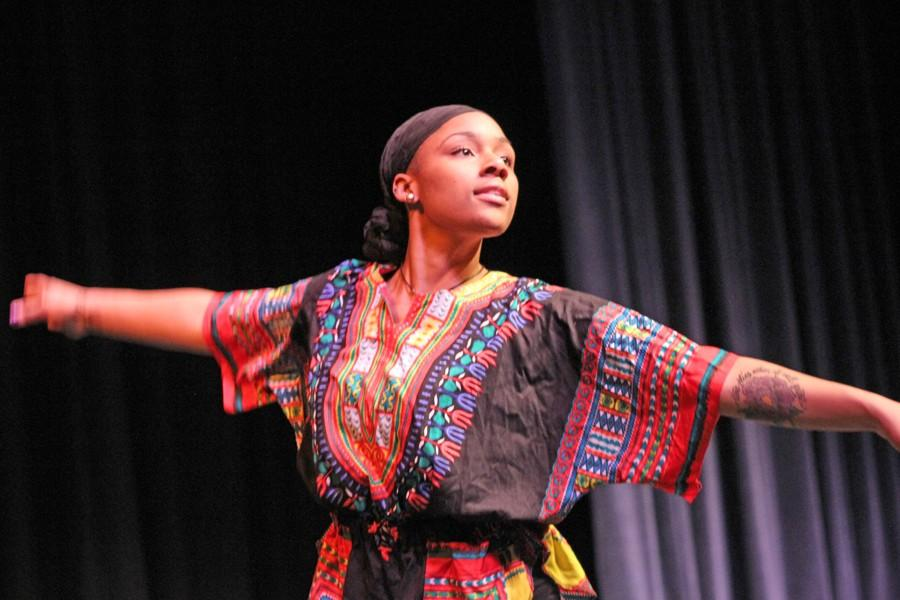Black+Student+Union+vice+president+and+dance+major+Bridgette+Lott+performs+a+dance+during+the+African+Heritage+Month+Celebration+in+the+Knox+Center+on+Feb.+12.