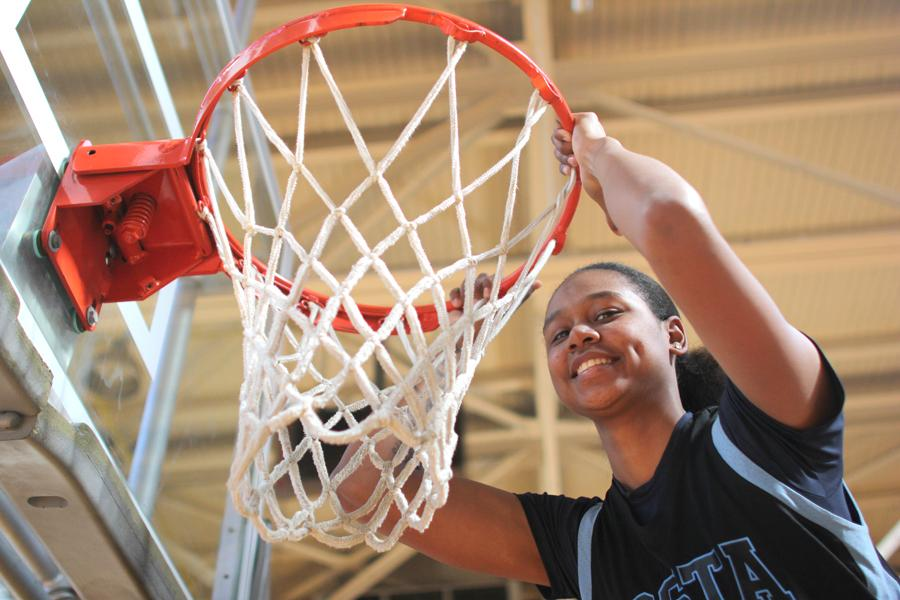 Comet forward and business administration major Jacqie Moody uses her strong will to earn second place in scoring and made field goals in the Bay Valley Conference.