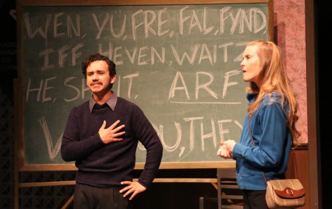 """Oz Herrera-Sobal (left) and Jamie Barnheart (right) act out their roles during the scene """"The Universal Language"""" during the play """"All in the Timing"""" in the Knox Center on Saturday. The play ran from March 11 through Saturday."""