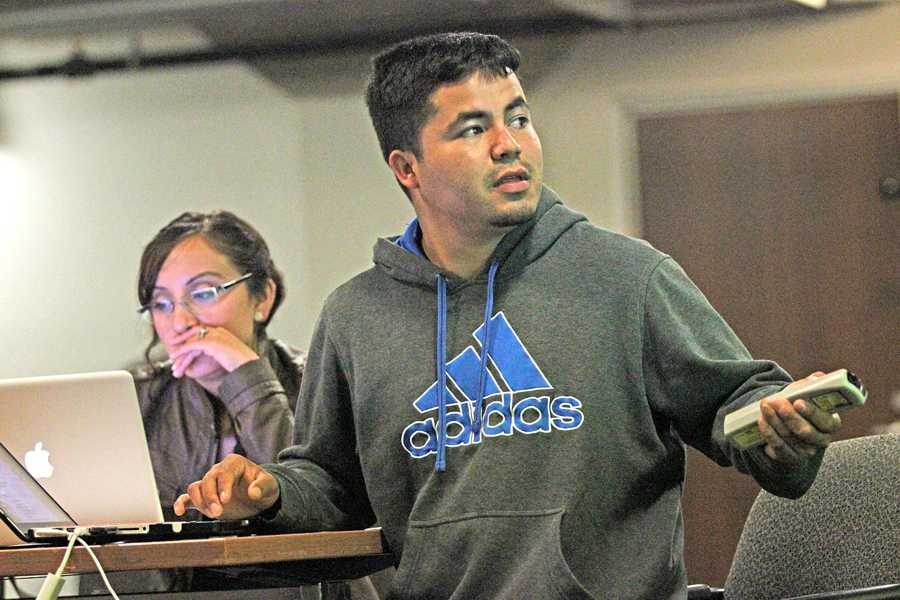 Civil engineer major Javier Reyes Ochoa heads a city planning meeting in the multi-purpose room at the Richmond Civic Center on March 31.