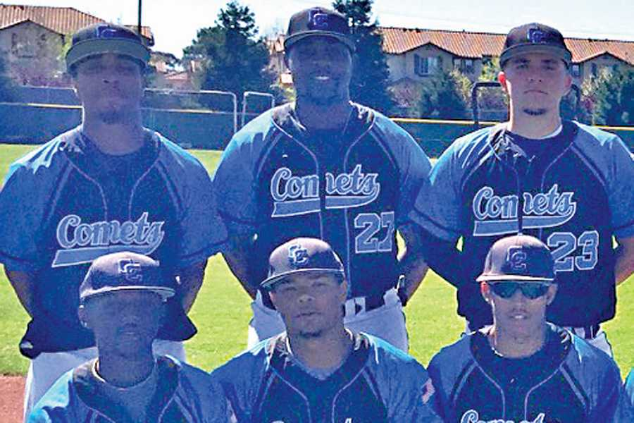 Aaron Oaks (top center) poses with his Comet teammates during the 2015 baseball season after years of work to get back in competitive form.