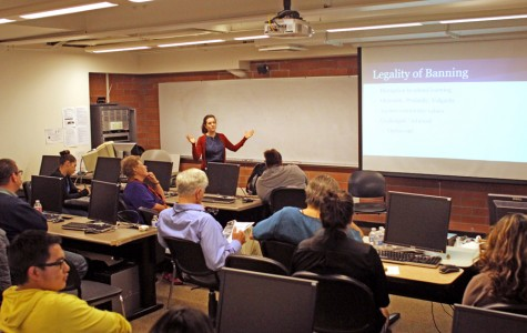 """Adjunct English professor Haley Kantor introduces """"The Things They Censored"""" book discussion as part of the Big Read event series in Library and Learning Resource Center on April 29. This event focused on the controversial content of """"The Things They Carried."""""""