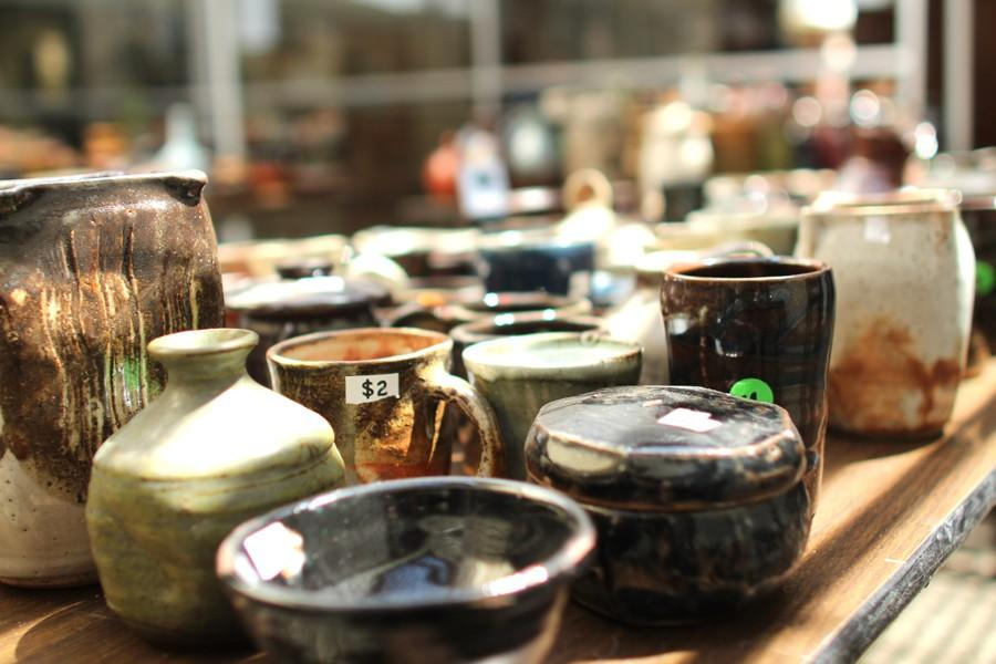 Student-made ceramics sit waiting to be purchased during the annual Pottery Sale in the Art Building on Thursday. All funds collected from the art sale go toward funding the Fine and Media Arts Department.