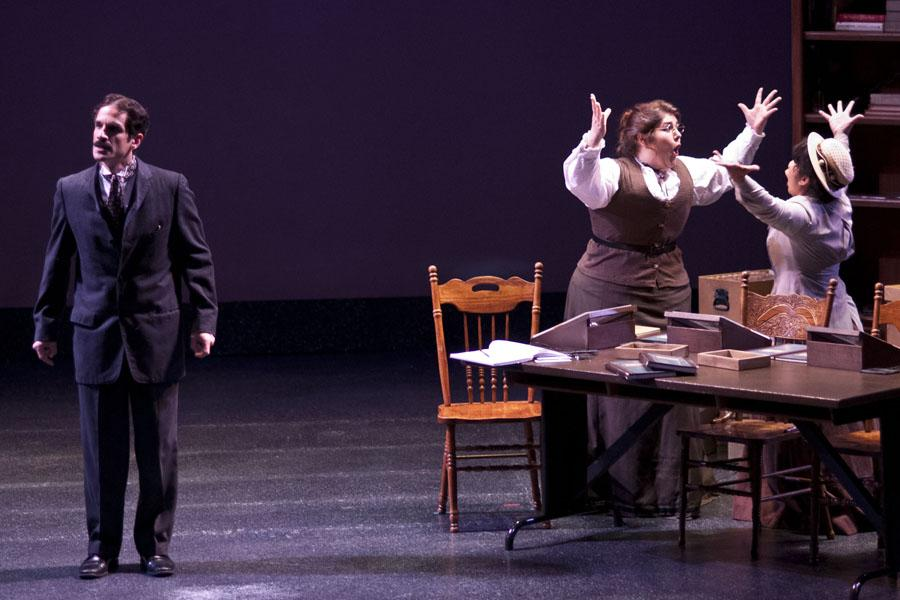 """Performers act out a scene during the """"Silent Sky"""" performance in the Knox Center. The play ran from April 30 to May 2."""