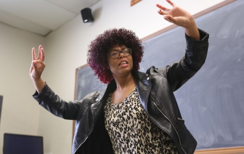 Sakeema Payne, a communications major, performs her comedic speech during the Intramural Speech Tournament in LA-112 on Thursday. Payne won first place in the comedic performance category at the awards ceremony which followed the speeches.