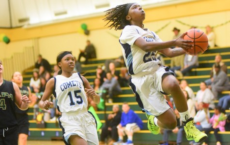 Comet guard Ahjahna Coleman leaps for a lay up during CCC's 66-56 loss to the Storm at Napa Valley College on Feb. 20.