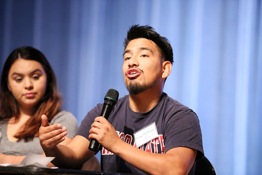 Cal State-Chico student Dilan Pedraza      gives first-hand advice to high school students about his pathway to college at the Getting Ready for College Conference at the Richmond Memorial Convention Center on Saturday.