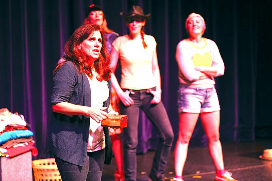 "(Far left) Janis Bergmann performs the play ""Yellow"" during the Union Women Actors' Coalition (UWAC) in the Knox Center on Monday."