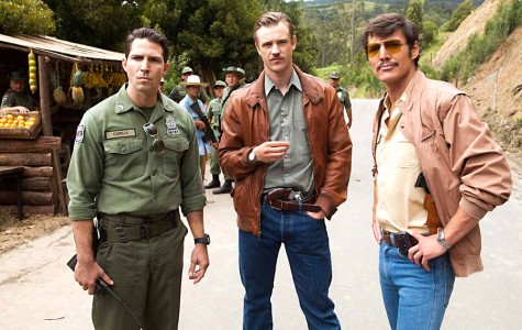 (L to R)  Maurice Compte, Boyd Holbrook and Pedro Pascal star in NARCOS.
