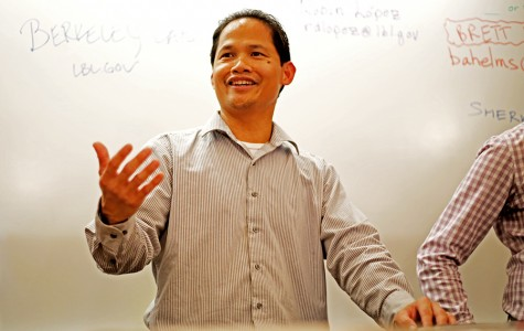 Lawrence Berkeley National Laboratory Facilities Mechanical Engineer Sherwin Mendoza encourages students to join the summer internship program during the panel discussion in PS-132 on Friday.