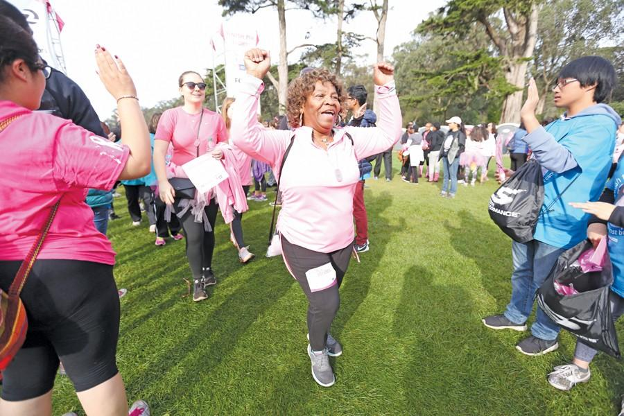 Antioch+resident+Eu+Robinson+celebrates+as+she+completes+her+first+walk+during+the+Making+Strides+for+Breast+Cancer+Walk+at+Golden+Gate+Park+in+San+Francisco+on+Saturday.