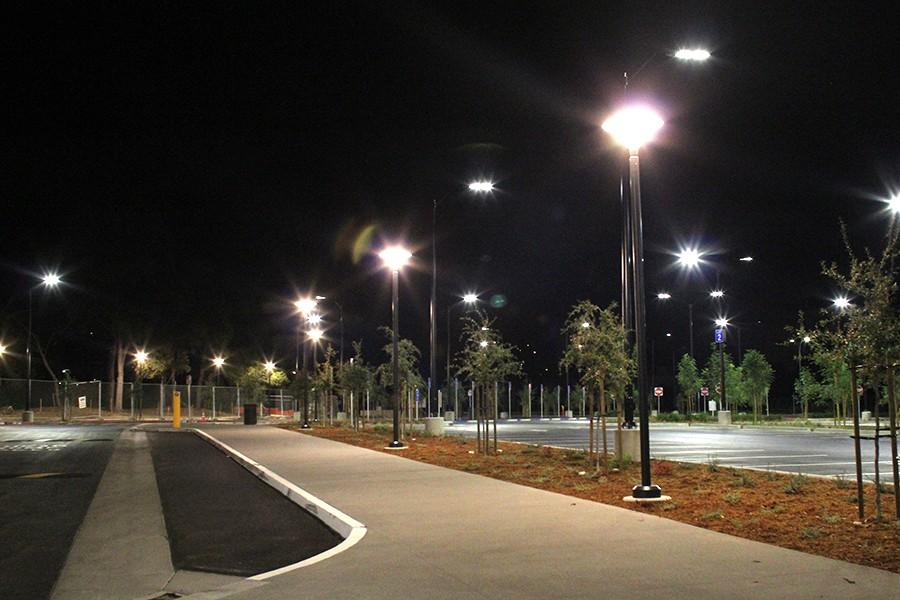 New LED lights have been installed in parking lots at Contra Costa College along the recently paved street near the Student Services Center to increase security for students and save energy and money for the campus. The lights cost approximately $64,000.