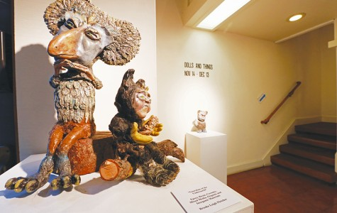 """""""The Plotting"""" (left) and """"Guardian of the Underneath"""" (right) by Brooke Leigh Fletcher are on display in the """"Dolls and Things"""" exhibit in Maple Hall at the San Pablo Art Gallery."""