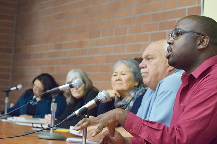 "Richmond vice mayor Jael Myrick, along with seven other panel speakers, discuss voting issues after the COPA film showing of ""Electoral Dysfunction"" in the Library and Learning Resource Center on Nov. 18."