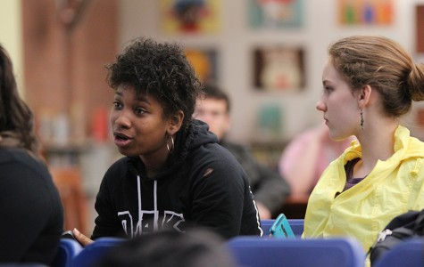 "Louisa Jackson (LEFT), a business administration major, asks a question during the ""Political Activism, Beyond the Ballot Box,"" event at the Library and Learning Resource Center on Thursday."