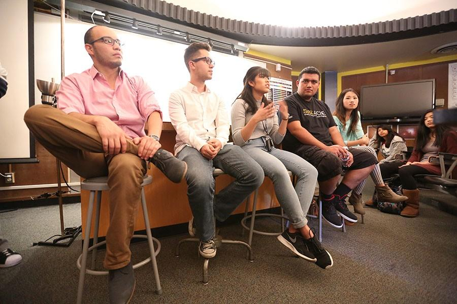 CSE Alumni Christian Talavera (left), Ramon Valencia, Elleanor Pangilinan, Kevin Hernandez and Duy Musuno share their experiences when transferring to a four-year college in PS-132 on Friday.