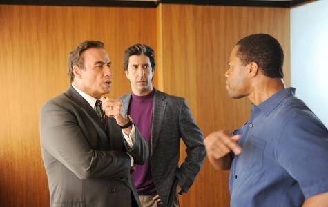 John Travolta as Robert Shapiro, David Schwimmer as Robert Kardashian, Cuba Gooding, Jr. as O.J. Simpson.