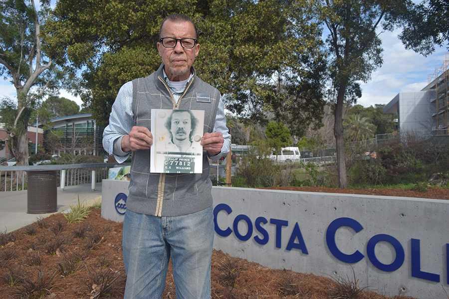Edward Williams holds his mug shot from 1983 taken at California State Prison in Vacaville. Williams is attending CCC to gain a counseling certificate to counsel youth who are currently on a path to the prison system.