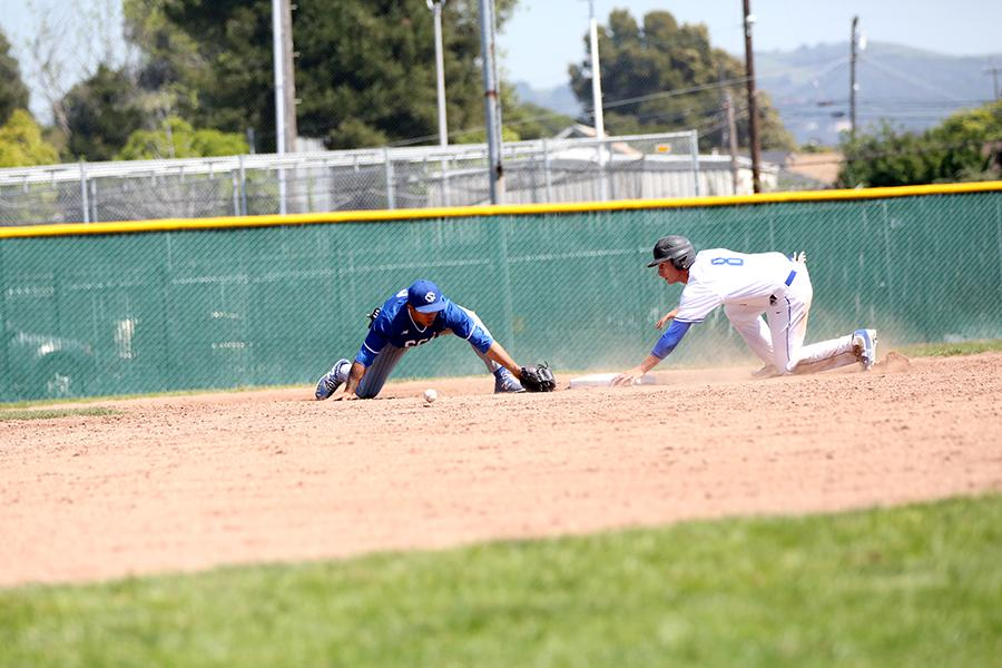 Comet first basemen Allen Ressler tags second base after an error by Falcon second baseman Tyler Thornly during CCC's 6-5 win over Solano Community College at the Baseball Field on Saturday.