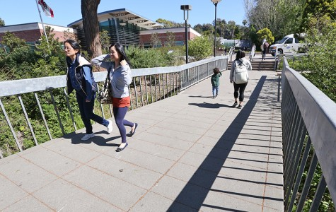 Students cross the bridge that sits between the Student Services Center Plaza and the parking lots on Monday. This bridge will be closed as construction nears its summer completion date.