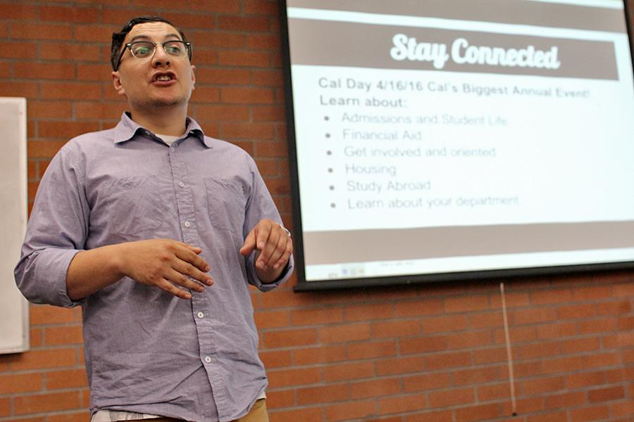 UC Berkeley Experience Director Kenny Gutierrez explains the application process for Experience Berkeley in the College Skills Center computer lab rm-125 on Wednesday.