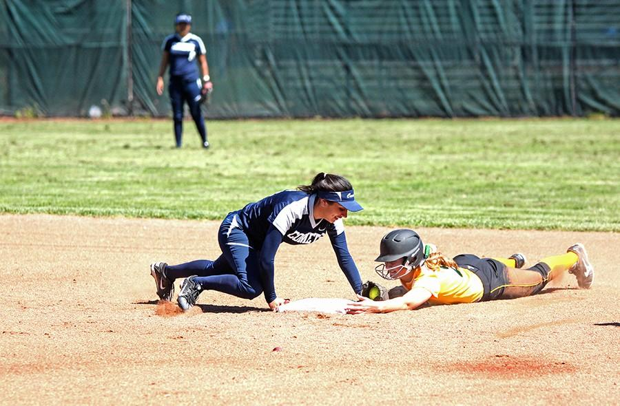 Comet  infielder Angelica Espinal tags out Storm  outfielder Jordan Baker during Thursday's loss against Napa Valley College.