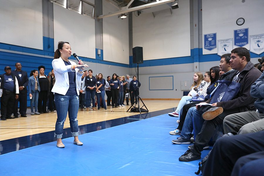 Vice President Tammeil Gilkerson speaks to high school students during Contra Costa College's Super Saturday Event. The event hosts local high school students on campus.