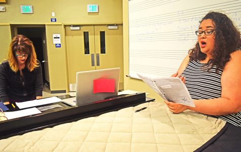 Music department Chairperson Stephanie Austin (left) directs  music major Laurena Alm (right) during Vocal Chamber Music class on Monday.