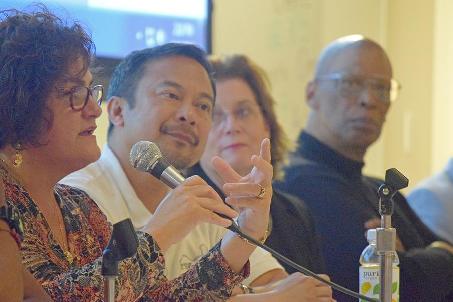 "Pinole City Councilwoman Maria Alegria (left) responds to a question during the documentary ""Street Fight"" screening hosted by the Community Organizing Political Action club (COPA) and the political science department in GE-225 on Friday."