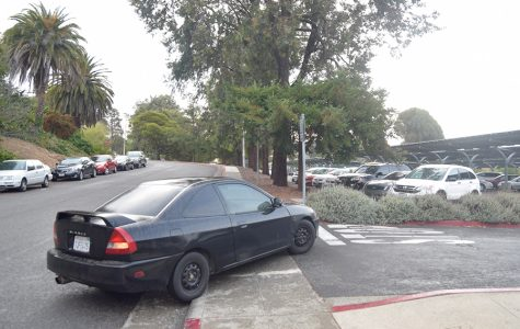 A car turns into Lot 10 behind Buildings and Grounds on October 3, 2016. On December 6, two unknown male assailants robbed a Contra Costa College student at gunpoint in the same lot.