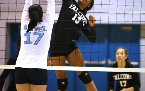 Falcons middle hitter Tori Owens spikes the ball past Comet middle blocker Alejandra Galvez during CCC's 3-0 loss to Solano College in the Gymnasium on Saturday.