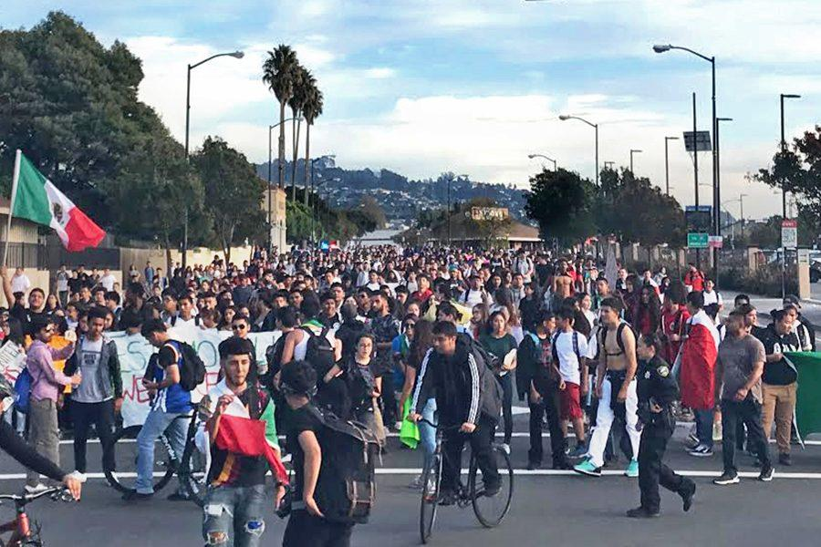 Thousands of West Contra Costa County Unified School District high school students regroup at San Pablo Avenue and Vale Road on Thursday during their protest against the election of Donald Trump as president.