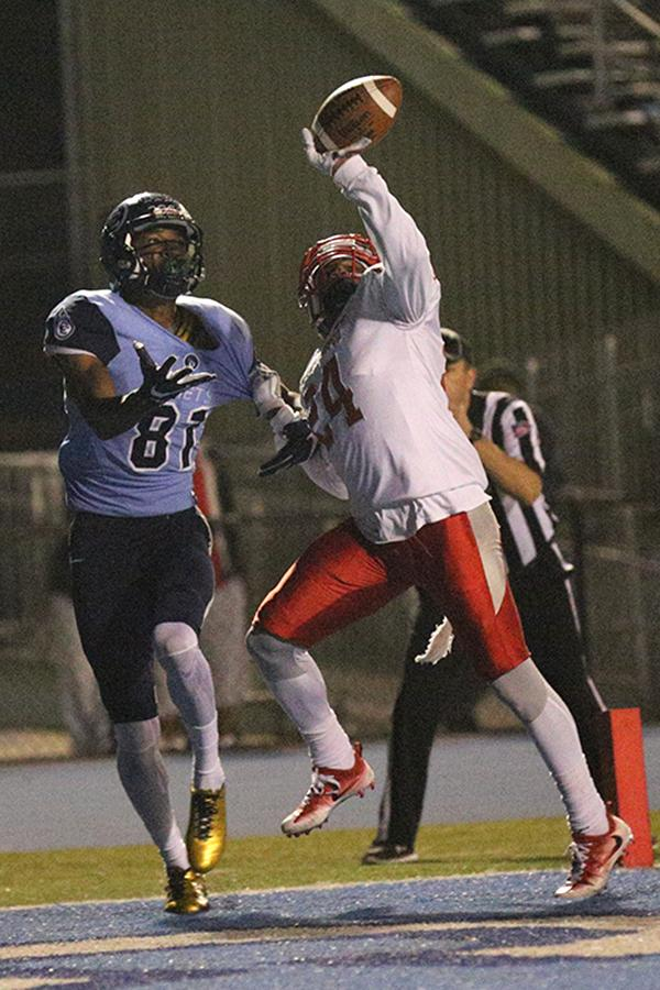 Ram defensive back Deante Fortenberry (24) tips a pass in the end zone away from Comet receiver Marquis Pippins (81) during CCC's 19-14 loss to City College of San Francisco at Comet Stadium on Saturday.
