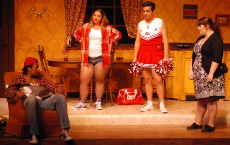 Nan Carter, played by Kaitlyn McCoy (right), Simon, played by Alejandro Garcia (center right) and Sweetheart, Played by Sarah Ann Piane (center left) listen to Kyle Carter, played by Umi Grant (left) apologize during a scene of