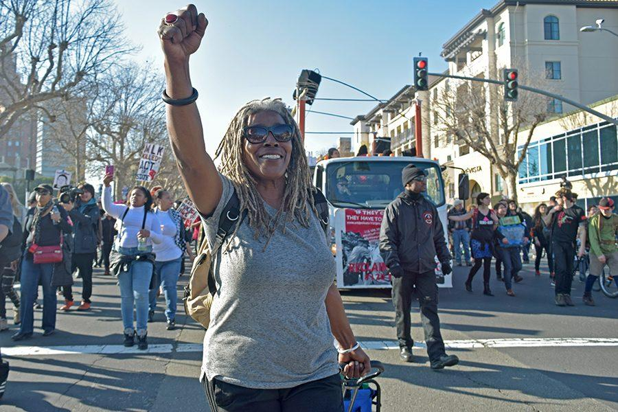 The Anti-Police Terror Project launches their 120 hours of direct action campaign against president-elect during the Third Annual March to Reclaim King's Radical Legacy on Jan 16, 2017 in Downtown Oakland, Calif.