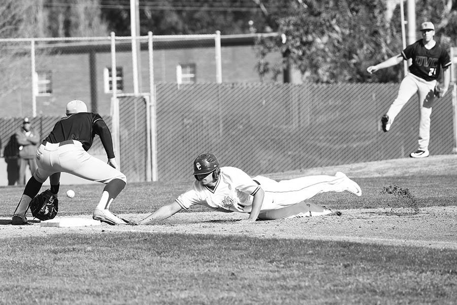 Comet infielder Elijah Smith stretches out in a head-first slide, beating the throw back to first base during CCC's 21-6 loss to Diablo Valley College at the Baseball Field on Jan. 28. The Comets' next home game is scheduled for Feb. 9 at 2 p.m. at the Baseball Field.