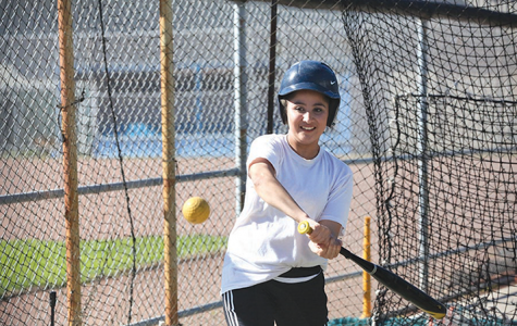 Comet infielder Zuleyma Higareda takes some swings during batting practice at the Softball Field on Feb. 8, 2016.