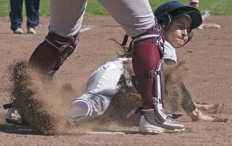Denis Perez / The Advocate Comet pitcher Zuleyma Garcia-Higareda slides into home plate during the Comets' 16-2 loss against the Los Medanos College Mustangs at the Softball Field in the first game of a doubleheader on March 14. The Comets lost the second game 16-2 as well.