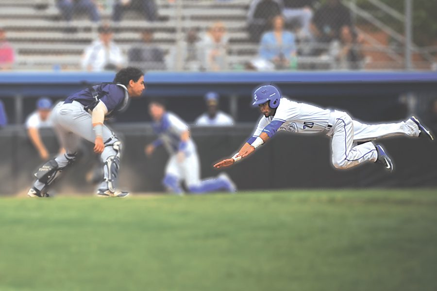 Comet outfielder Rome Watson (right) dives into home plate during Contra Costa College's 8-6 loss against Mendocino College at the Baseball Field on Saturday.