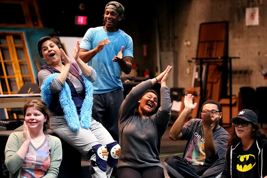Godspell+cast+members+%28left+to+right%29+Elizabeth+Martine%2C+Rachel+Garza%2C+Umi+Grant%2C+Sean+Teal+and+Jasmine+Manahan+perform+a+scene+from+the+musical+during+a+rehearsal+in+the+Knox+Center+on+Monday.