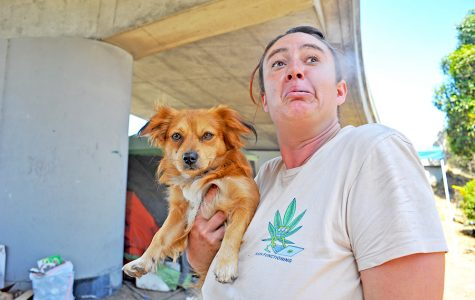 Berkeley resident Rebecca Fisher exhales after smoking a cannabis pre-rolled joint fom the Munchie Movement while holding her dog under the University Avenue exit in Berkeley on Friday.
