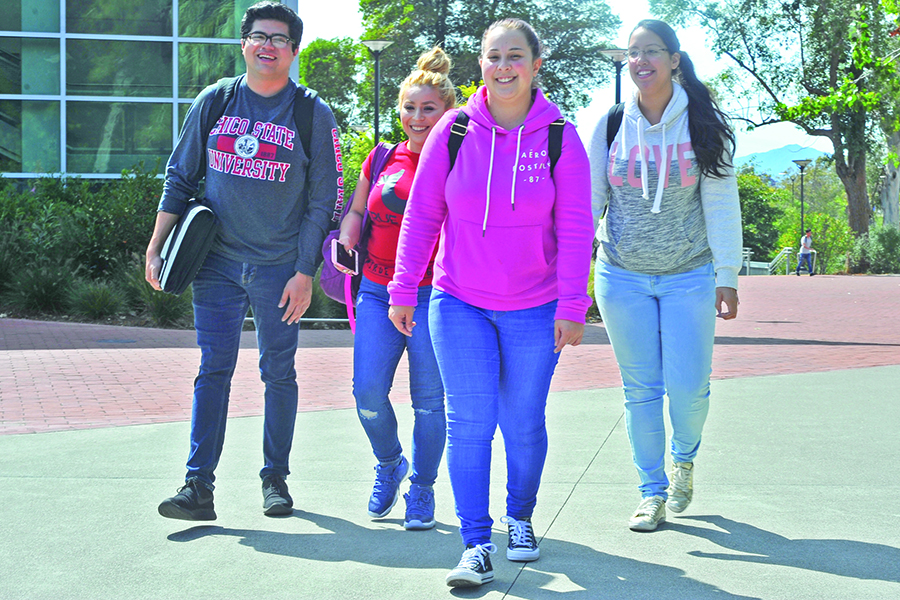 "Psychology major Lizbeth Gonzalez (front middle) calls Contra Costa College a ""safe place"" where she can enjoy the company of her friends La Raza studies major Luis Ledesma (left), political science major Michelle Armienta (middle back) and psychology major Alejandra Navarro (right)."